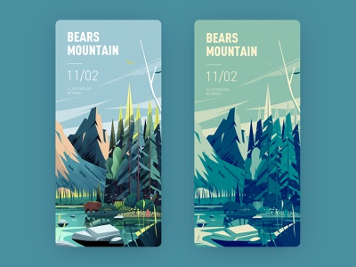 Bear mountain mountain river bear vector illustration ps