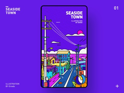 Town sea town seaside illustration ps