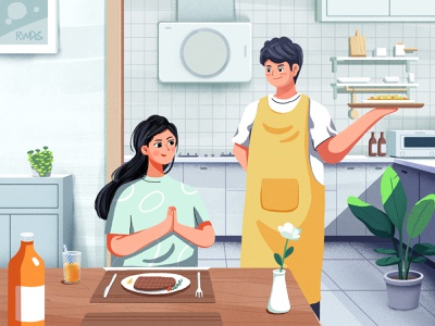 Having dinner kitchen branding illustration ps
