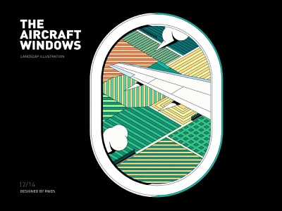 Aircraft windows field airplane vector branding illustration ps