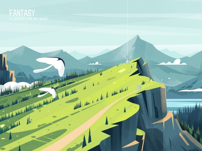 Mountain branding vector landscape illustration ps