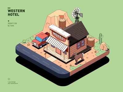 Hotel isometric illustration ps