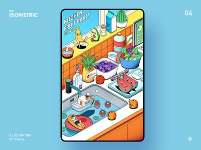 Kitchen fruit isometric illustration ps