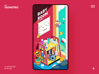 Baby room isometric vector illustration ps