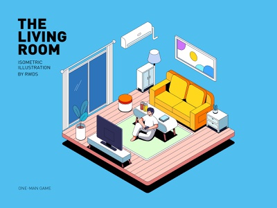 Living room isometric vector illustration ps