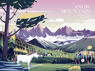 Snow Mountain horse branding vector illustration ps
