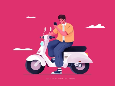 Ride vector man person wrok illustration ps