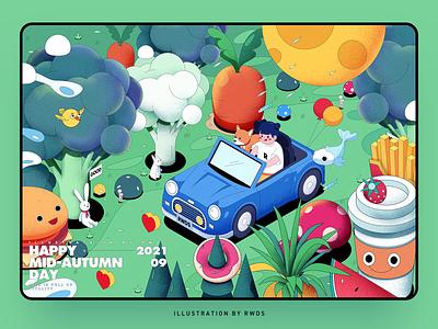 Mid-autumn Festival vegetable dog girl mid-autumn festival branding design vector illustration ps
