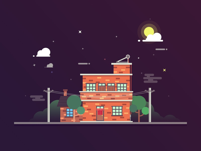 Hometown tree illustrate image ps moon night home house hometown