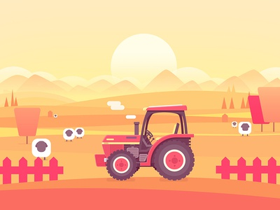 farm sheep tree illustrate tractor picture iamge ps farm