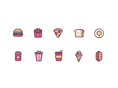 icons chips coffee hamburger icecream egg bread hi ps icon food