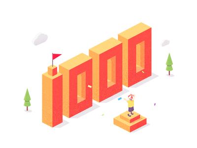 1000 followers isometric follower illustration image ps 1000