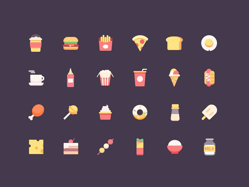 food icons coffee hot dog colo milk cheese hamburge egg cake ps ui icons food