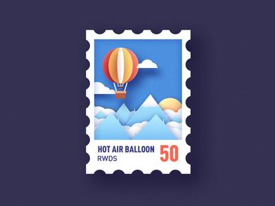 balloon stamp china sun moutain illustration paper balloon