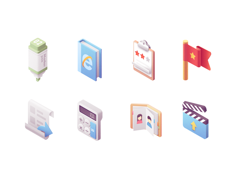 Icons Isometric3 marker pen video calculate china ui book isometric icons