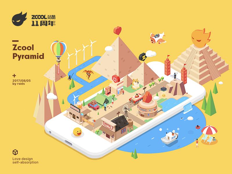 Love Design trip.pyramid map isometric illustration zcool love design