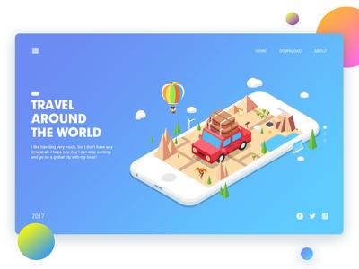 Travel china illustration ui app web phone isometric travel