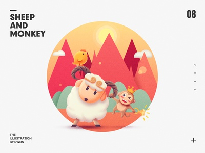 Sheep and Monkey ps chicken illustration monkey sheep
