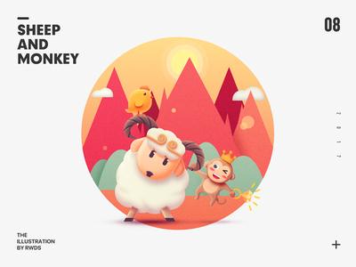 Sheep and Monkey ps chicken illustration monkey sheep