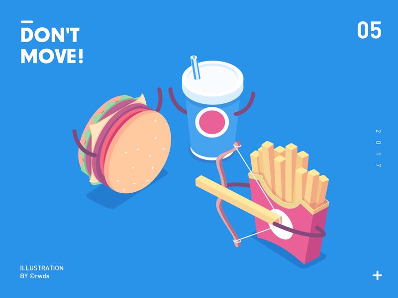 Don't move cola chips hamburger illustration isometric