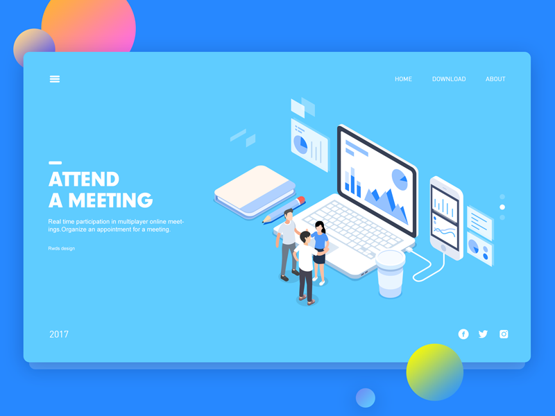 Meeting isometric illustration meeting web ui app