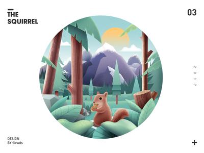 Squirrel illustration landscape tree mountain squirrel