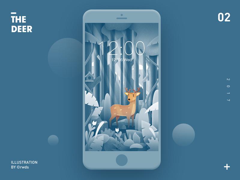 The deer illustration ps deer tree forest