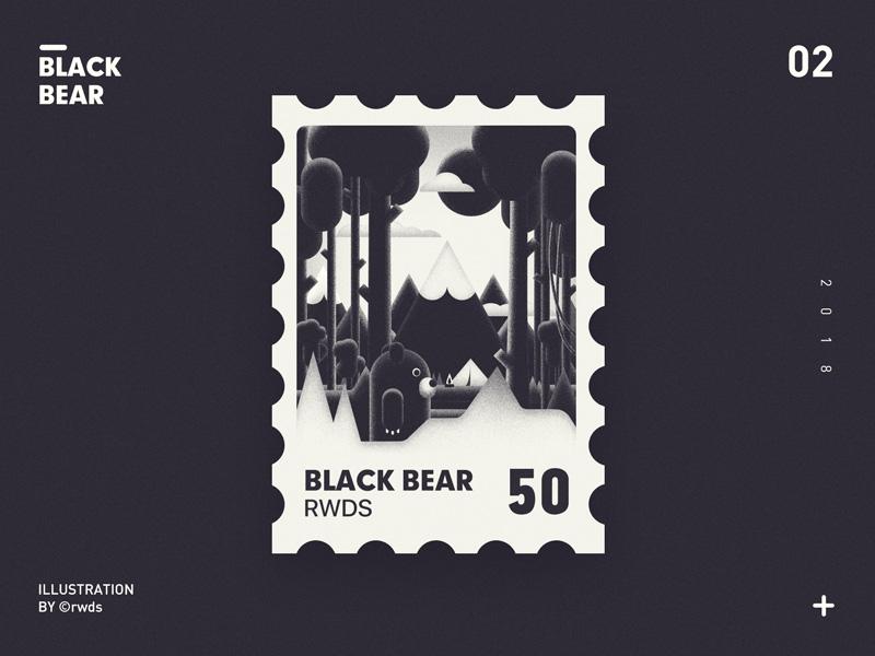Black bear landscape illustration tree mountain stamp bear
