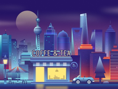 City night illustration ps scenes night city