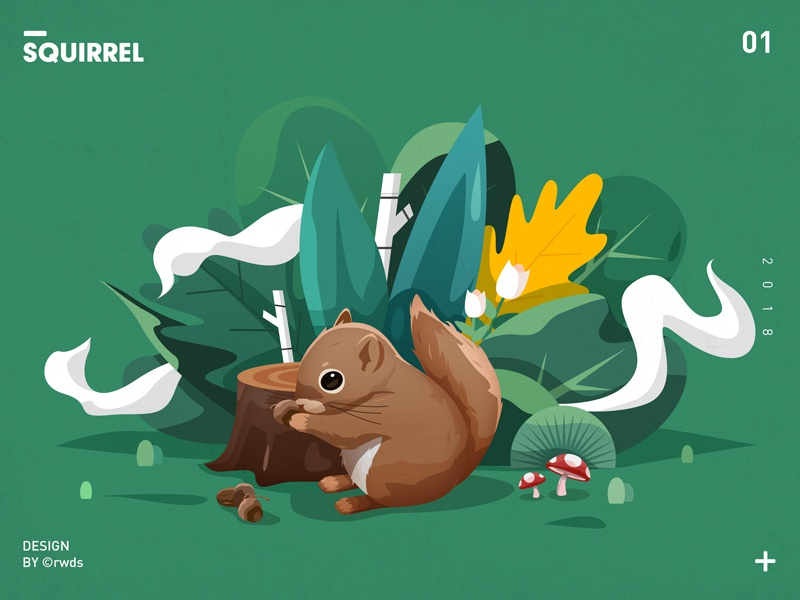 Squirrel mushroom illustration landscape tree flower squirrel