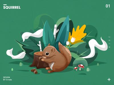 Squirrel mushroom illustration landscape tree flower squirrel