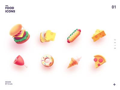 Food Icons icon china pizza meat hotdog ice-cream bread hamburg icons food