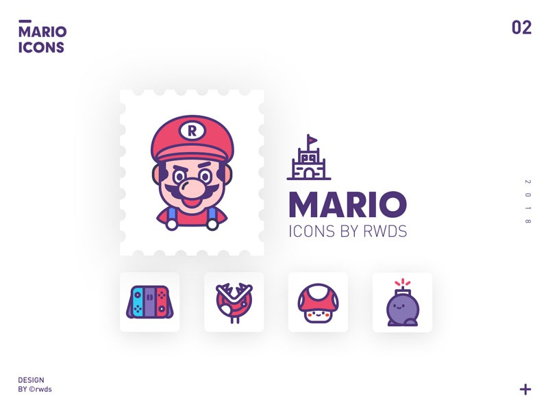 Mario mushroom boom switch icons mario