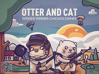 otter illustration cat otter