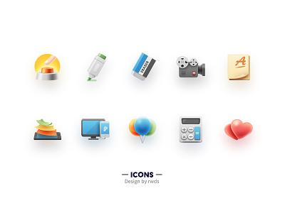 Icons pad phone balloon computer camera eraser pen