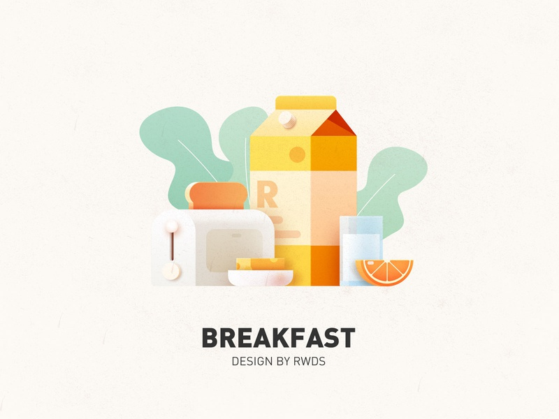 Breakfast milk food eat bread ps illustration breakfast