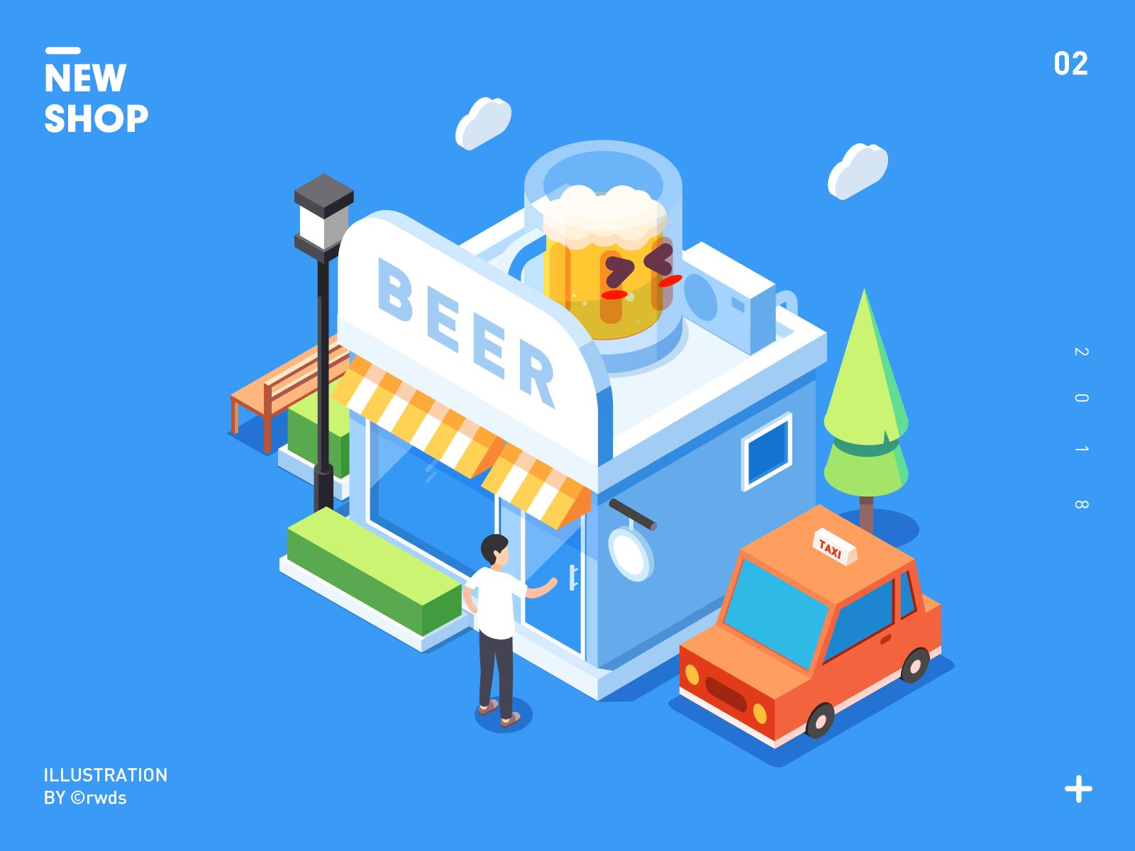 Shop beer branding isometric ps illustration shop
