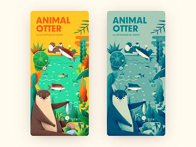 Otter fishing animal rwds china illustration ai otter ps