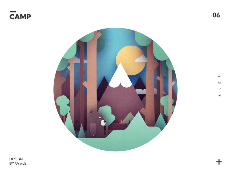 Camp illustrtion ps camp