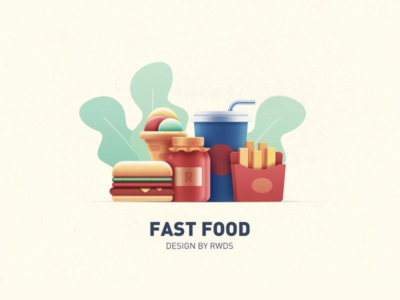 Fast food rwds branding illustration icon design eat icecream hamburg fastfood