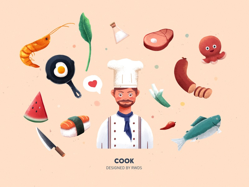 Cook fish beaf salt egg rwds ps illustration cook