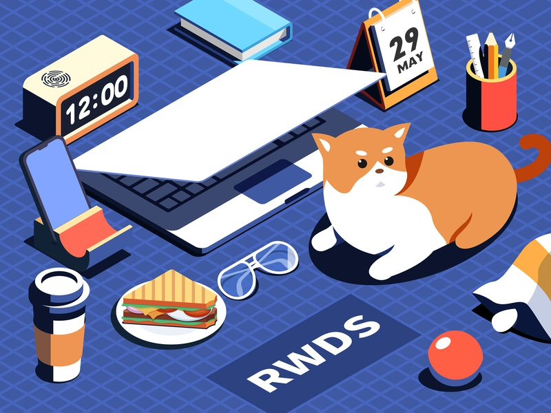 Isometric desk clock pen sandwich coffee cat computer illustration ps