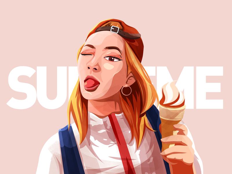 Girl icecream illustration ps