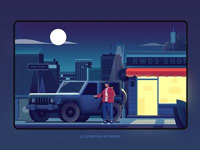 Street shop street car jeep illustration ps