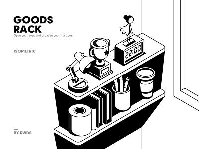 Goods rack isometric illustration ps