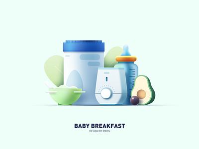 Baby Breakfast vector ui illustration ps