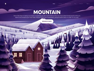 Snow mountain web illustration ps snow