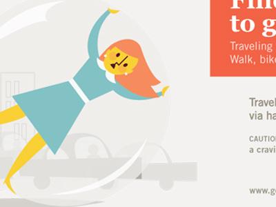 Hamster ball commuter illustration blue orange girl