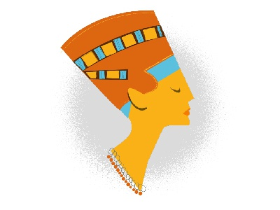 Nefertiti queen egyptian illustration orange nefertiti