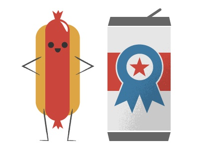 Americana food americana beer frank illustration